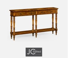 Country Walnut Parquet Double Console Table