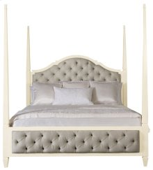 Queen-Sized Savoy Place Upholstered Poster Bed