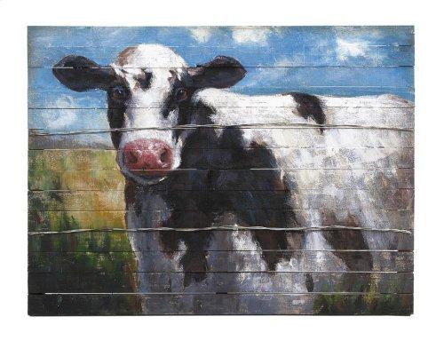 Ella Elaine Lester Cow Oil Painting