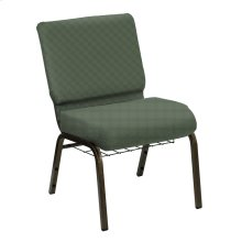 Wellington Cactus Upholstered Church Chair with Book Basket - Gold Vein Frame