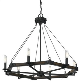 60W x 6 Blacksmith metal/wood chandelier