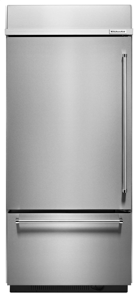 "KitchenAid20.9 Cu. Ft. 36"" Width Built-In Stainless Bottom Mount Refrigerator With Platinum Interior Design - Stainless Steel"