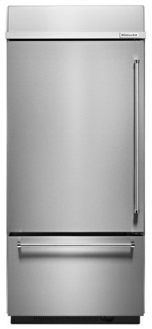 "20.9 Cu. Ft. 36"" Width Built-In Panel Ready Platinum Interior Bottom Mount Refrigerator - Stainless Steel"