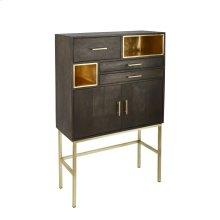 "Wood 60"" 3 Drawer, 2 Door Cabinet On Stand, Black"