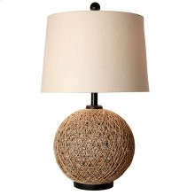 Woven Natural Rattan Ball Table Lamp With Bronze Base And Cap - Linen Hardback Shade