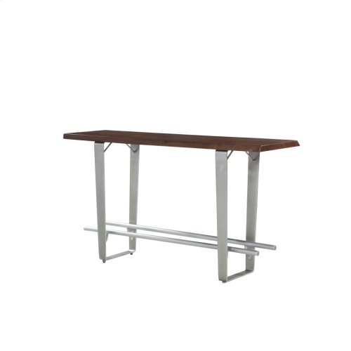 Pub Table 24-28x66-solid Top Mahogany-live Edge-no Leaf-brushed Nickel Legs Rta