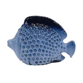 """Ceramic 10.5"""" Fish, Blue Mix"""
