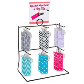 14 pc. assortment. Lipstick Key Chain with Bag Clip & Counter Display