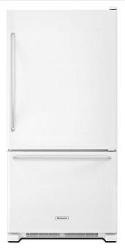 19 cu. ft. 30-Inch Width Full Depth Non Dispense Bottom Mount Refrigerator - White Product Image