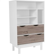 """St. Claire Collection Contemporary 4 Shelf 49""""H Bookcase and Storage Cabinet in White Finish with Oak Wood Grain Drawers"""