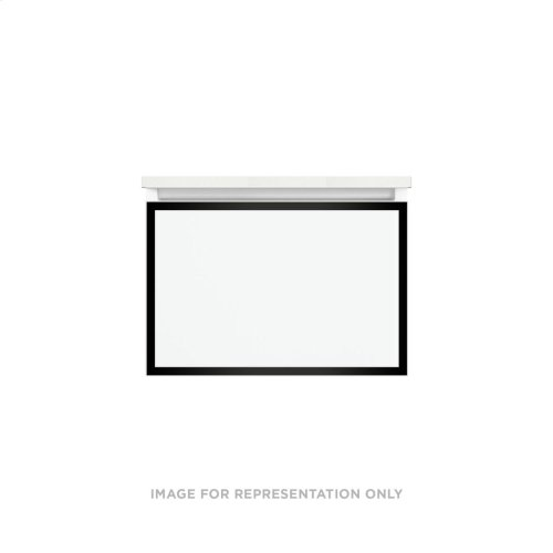 """Profiles 24-1/8"""" X 15"""" X 18-3/4"""" Framed Slim Drawer Vanity In Ocean With Matte Black Finish, Slow-close Plumbing Drawer and Selectable Night Light In 2700k/4000k Color Temperature"""