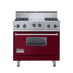"""Burgundy 36"""" Open Burner Range - VGIC (36"""" wide, four burners 12"""" wide griddle/simmer plate)"""