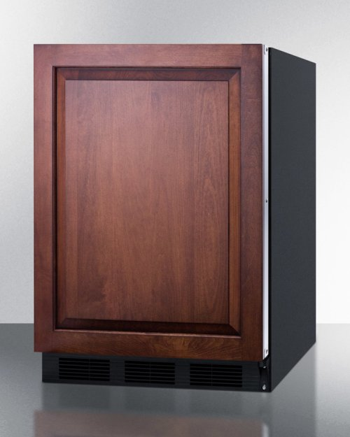 Built-in Undercounter Refrigerator-freezer for General Purpose Use, With Dual Evaporator Cooling, Integrated Door Frame for Overlay Panels, and Black Cabinet