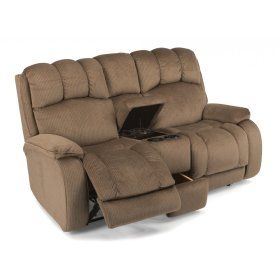 Huron Fabric Reclining Loveseat with Console