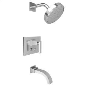 Uncoated-Polished-Brass-Living Balanced Pressure Tub & Shower Trim Set