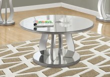 "COFFEE TABLE - 36""DIA / BRUSHED SILVER / MIRROR"