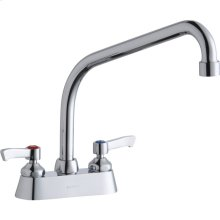 "Elkay 4"" Centerset with Exposed Deck Faucet with 10"" High Arc Spout 2"" Lever Handles Chrome"
