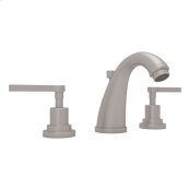 Satin Nickel Lombardia C-Spout Widespread Lavatory Faucet with Metal Lever