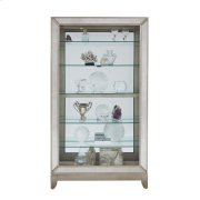 Antique Style 5 Shelf Mirrored Curio Cabinet in Aged Silver Product Image