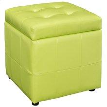 Volt Storage Upholstered Vinyl Ottoman in Light Green