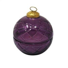 "3"" Cut Glass Ball W/candle, Purple"