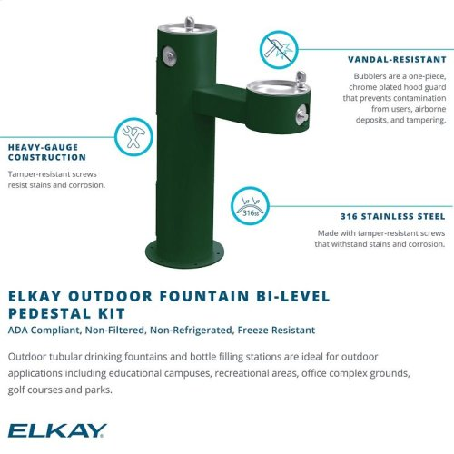 Elkay Outdoor Fountain Bi-Level Pedestal Non-Filtered, Non-Refrigerated Freeze Resistant Purple