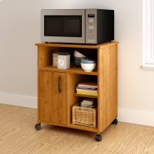Microwave Cart with Storage on Wheels - Country Pine