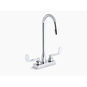 Polished Chrome Centerset Commercial Bathroom Sink Faucet With Gooseneck Spout and Wristblade Lever Handles, Drain Not Included