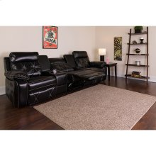 Reel Comfort Series 3-Seat Reclining Black Leather Theater Seating Unit with Straight Cup Holders