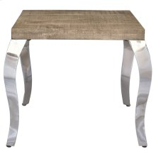 Natalia Accent Table in Reclaimed & Chrome