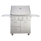 """Discovery 36"""" Outdoor Grill Cart in Stainless Steel with Chrome Trim Product Image"""