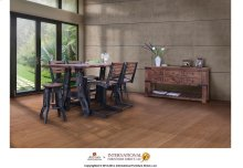 Counter Height Dining Table w/Wood Top & Iron Base and 4 Chairs