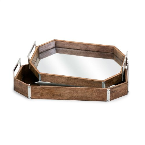 TY New Frontier Wood and Mirror Decorative Trays - Set of 2