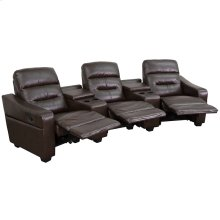 Futura Series 3-Seat Reclining Brown Leather Theater Seating Unit with Cup Holders
