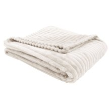 """THROW - 60"""" X 50"""" / IVORY ULTRA SOFT RIBBED STYLE"""
