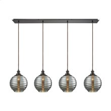 Ridley 4 Light Linear Pan Pendant in Oil Rubbed Bronze with Smoke Plated Beehive Glass