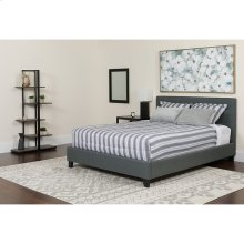 Chelsea Twin Size Upholstered Platform Bed in Dark Gray Fabric