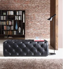 Divani Casa Maria Modern Black Eco-Leather Bench w/ Crystals