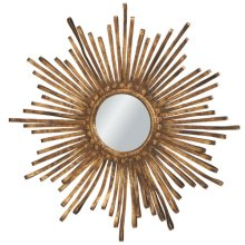 Sunburst Golden Metal Ribbon Mirror.