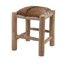 Andros Teak and Animal Hide Square Stool
