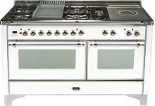 True White with Chrome trim - Majestic 60-inch Range with Griddle + French Cooktop