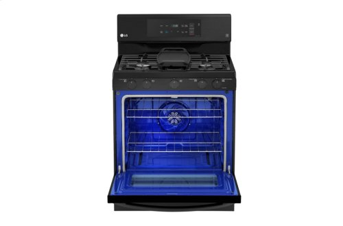 LG Matte Black Stainless Steel 5.4 cu. ft. Capacity Gas Single Oven Range with EvenJet Fan Convection and EasyClean®