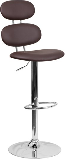 Contemporary Brown Vinyl Adjustable Height Barstool with Ellipse Back and Chrome Base