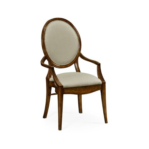 Stacking Spoon Back Walnut Dining Armchair, Upholstered in Mazo