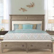 Myra - King/california King Upholstered Bench Storage Footboard - Natural Finish Product Image