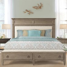 Myra - Queen Upholstered Bench Storage Footboard - Natural Finish
