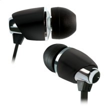 Black Matte Black and Chrome in-ear stereo headphones by Bell'O Digital