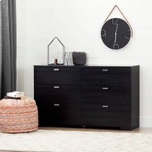 6-Drawer Double Dresser - Black Onyx