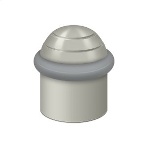 "Round Universal Floor Bumper Dome Cap 1-1/2"", Solid Brass - Brushed Nickel"