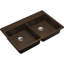 """Elkay Quartz Classic 33"""" x 22"""" x 5-1/2"""", Drop-in ADA Sink with Perfect Drain, Mocha"""